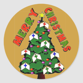 Merry Christmas Nurse Cap Tree Classic Round Sticker