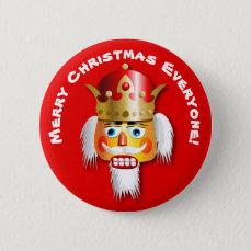 Merry Christmas Nutcracker King Cartoon Pinback Button