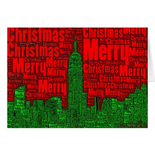 Merry Christmas: NYC Skyline Word Art Card  002