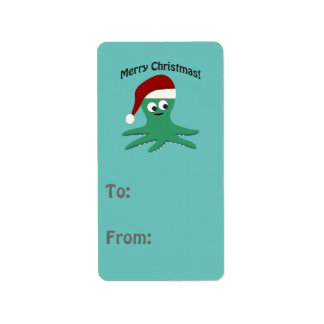 Merry Christmas Octopus Label