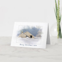 Merry Christmas old barn in snowflakes Card