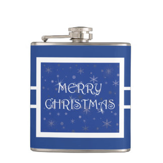 Merry Christmas on Blue with Snowflakes Flask