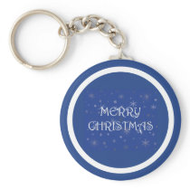 Merry Christmas on Blue with Snowflakes Keychain
