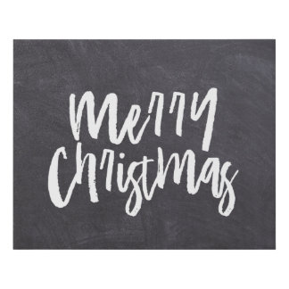 Merry Christmas on Chalkboard etching Affordable - Faux Canvas Print