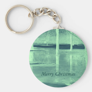 Merry Christmas on Ice Keychain