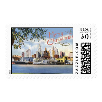 Merry Christmas on New Orleans Skyline Postage