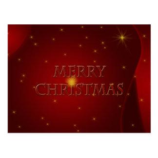 Merry Christmas on Red Satin Postcard