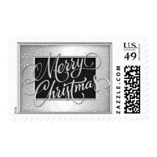 Merry Christmas on Silver and Black Frame Postage Stamp