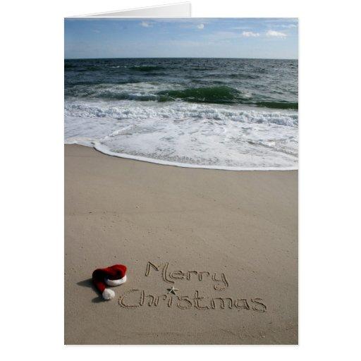 Merry Christmas on the Beach Ocean Starfish Greeting Card