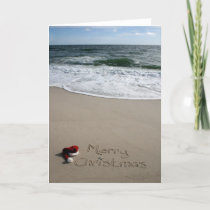 Merry Christmas on the Beach Ocean Starfish Holiday Card
