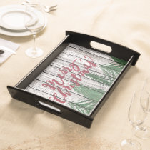 Merry Christmas On Weathered Wooden Planks Pattern Serving Tray
