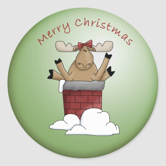 Merry Christmas OOPS! Whimsical Moose Classic Round Sticker