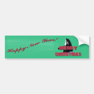 Merry Christmas Orca Whale Spy Hop Christmas Gifts Bumper Sticker