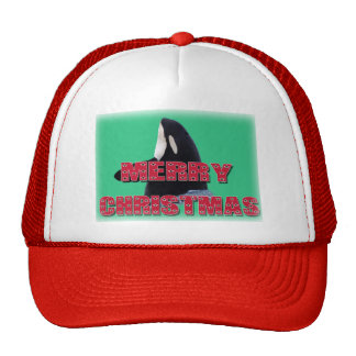 Merry Christmas Orca Whale Spy Hop Christmas Gifts Mesh Hat