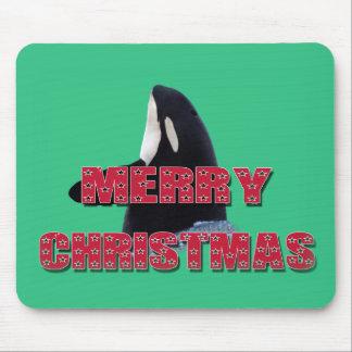 Merry Christmas Orca Whale Spy Hop Christmas Gifts Mousepad