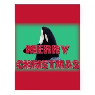 Merry Christmas Orca Whale Spy Hop Christmas Gifts Postcards