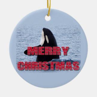 Merry Christmas Orca Whale Spy Hop Christmas Ornam Christmas Tree Ornament