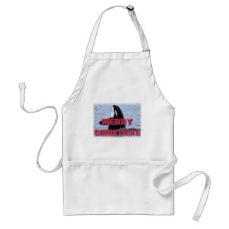 Merry Christmas Orca Whale Spy Hop Holiday Gifts Apron