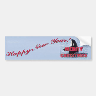Merry Christmas Orca Whale Spy Hop Holiday Gifts Car Bumper Sticker