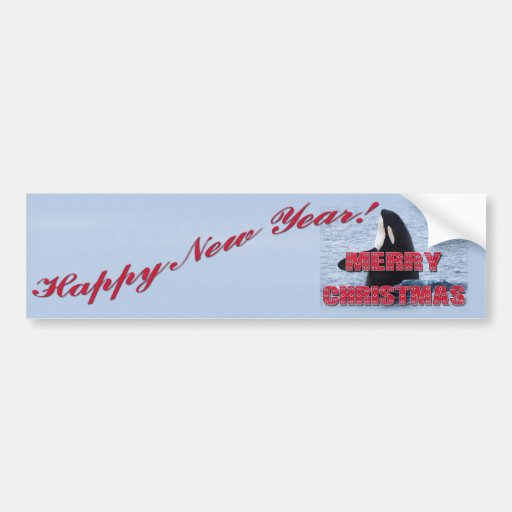 Merry Christmas Orca Whale Spy Hop Holiday Gifts Bumper Sticker