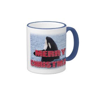 Merry Christmas Orca Whale Spy Hop Holiday Gifts Mugs