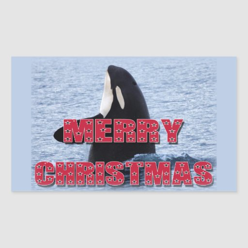 Merry Christmas Orca Whale Spy Hop Holiday Gifts Rectangular Sticker