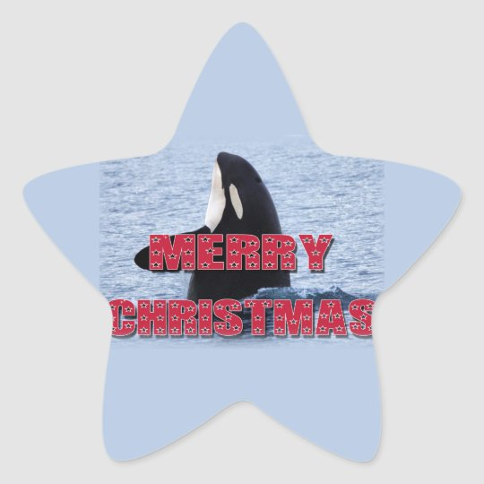 Merry Christmas Orca Whale Spy Hop Holiday Gifts Star Sticker