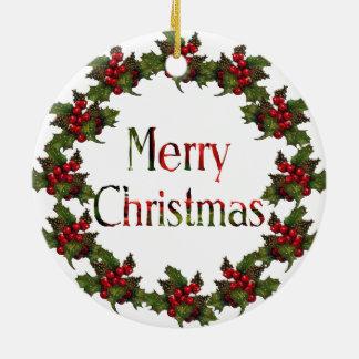 Merry Christmas: Original Art: Wreath, Pine Cones Ceramic Ornament