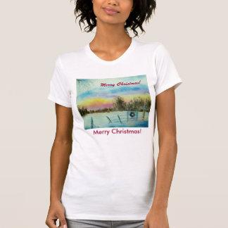 Merry Christmas Original Watercolor Landscape T-Shirt