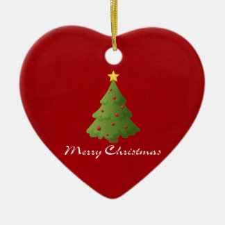 Merry Christmas Double-Sided Heart Ceramic Christmas Ornament