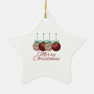 Merry Christmas Double-Sided Star Ceramic Christmas Ornament