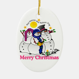 Merry Christmas Double-Sided Oval Ceramic Christmas Ornament