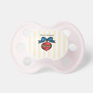 Merry Christmas Ornament Baby Pacifier Yellow Girl