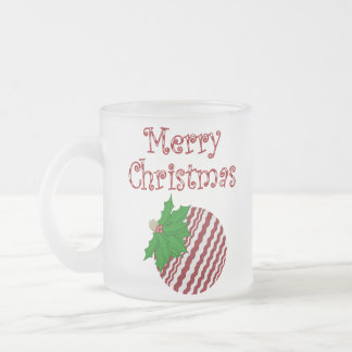 Merry Christmas Ornament Frosted Glass Mug