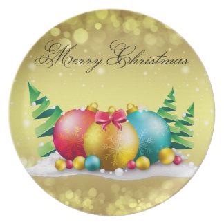 Merry Christmas Ornament Melamine Plate