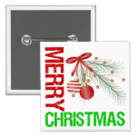 Merry Christmas Ornament Red Bow Pinback Buttons