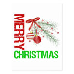 Merry Christmas Ornament Red Bow Postcards