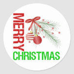 Merry Christmas Ornament Red Bow Sticker