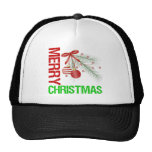 Merry Christmas Ornament Red Bow Trucker Hat