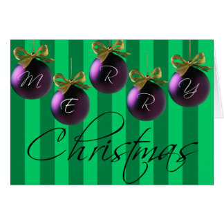 Merry Christmas Ornament Stripes Card