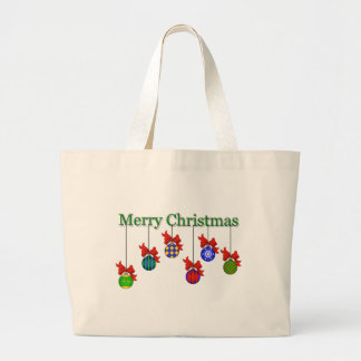Merry Christmas & Ornaments Canvas Bag