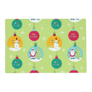 Merry Christmas Ornaments Christmas Laminated Place Mat