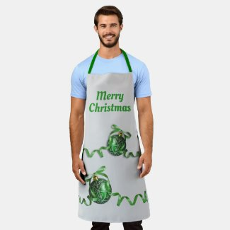 Merry Christmas Ornaments Gray Men's Apron