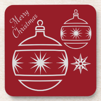 Merry Christmas Ornaments on Red Beverage Coaster
