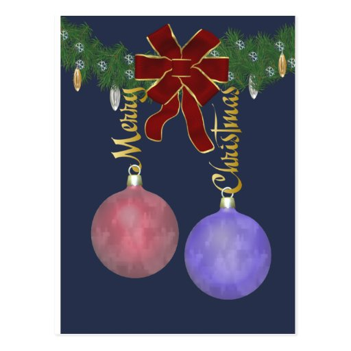 Merry Christmas Ornaments Post Cards