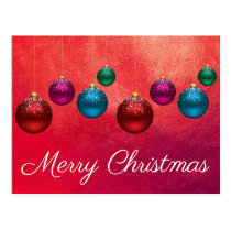Merry Christmas Ornaments Postcard Colorful