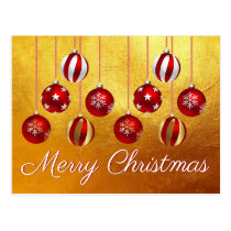 Merry Christmas Ornaments Postcard Red White