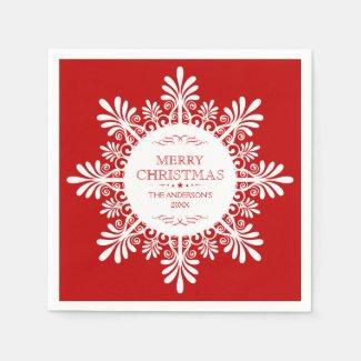 Merry Christmas Ornate White Snowflake Standard Cocktail Napkin