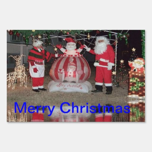 Merry christmas outdoor decoration yard sign zazzle for Outdoor christmas signs