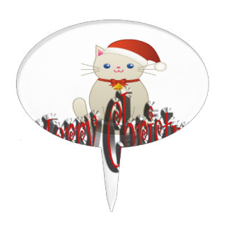 Merry Christmas Oval Cake Toppers